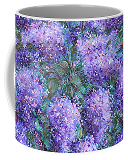 Coffee Mug featuring the painting  Scented Lilacs Bouquet by Natalie Holland