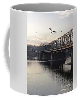 Gulls At The Bridge In January Coffee Mug