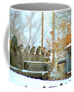 7 Winter Sparrows Coffee Mug