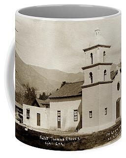Coffee Mug featuring the photograph  St. Thomas Aquinas Catholic Church  Ojai Cal 1920 by California Views Mr Pat Hathaway Archives