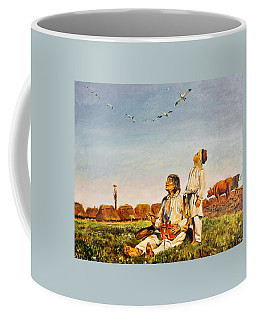 Coffee Mug featuring the painting End Of The Summer- The Storks by Henryk Gorecki