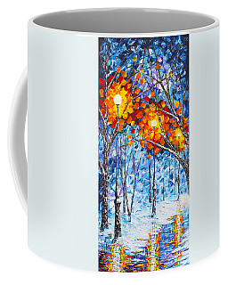 Silence Winter Night Light Reflections Original Palette Knife Painting Coffee Mug