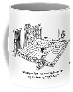 A Man Is Writing In A Huge Book On The Floor Coffee Mug