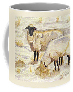 Coffee Mug featuring the painting A Peaceful Winter by Angela Davies