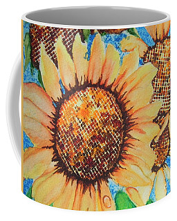 Coffee Mug featuring the painting Abstract Sunflowers by Chrisann Ellis