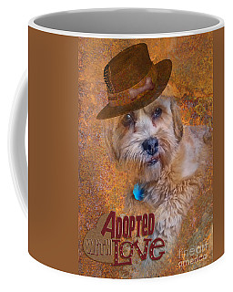 Coffee Mug featuring the digital art Adopted With Love by Kathy Tarochione