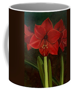 Coffee Mug featuring the painting Amaryllis by Nancy Griswold