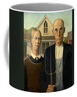 Coffee Mug featuring the painting American Gothic by Grant Wood