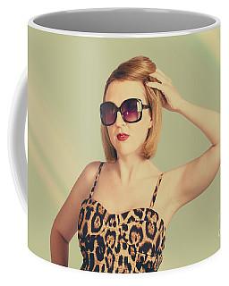 Beautiful 80s Pinup Woman On Hairdressing Backdrop Coffee Mug