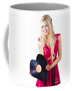 Beautiful Blonde With Heart-shaped Record Coffee Mug