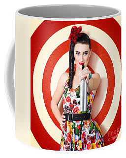 Beautiful Housewife Taking Aim With Cleaning Spray Coffee Mug
