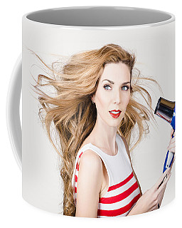 Beautiful Model Hair Styling Long Red Hairstyle Coffee Mug