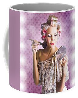 Beautiful Retro Woman Applying Makeup Cosmetics Coffee Mug
