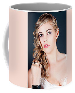 Beautiful Young Bride With Perfect Hair And Makeup Coffee Mug