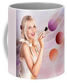 Beauty Woman Using Rouge Blush Color Pallet Coffee Mug