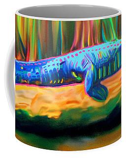 Coffee Mug featuring the painting Blue Alligator by Deborah Boyd