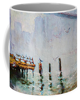 Brooklyn Bridge In A Foggy Morning   Coffee Mug