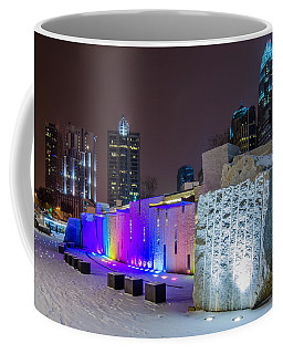 Charlotte Queen City Skyline Near Romare Bearden Park In Winter Snow Coffee Mug