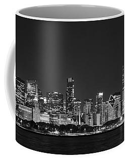 Chicago Skyline At Night Black And White Panoramic Coffee Mug