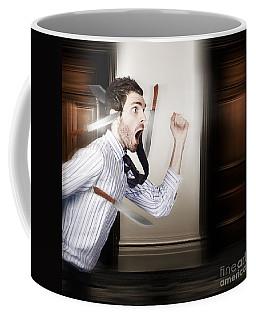 Crazy Businessman Running In Fear From Danger Coffee Mug
