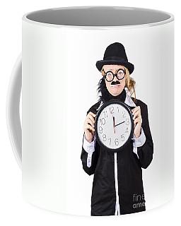 Crying Woman In Disguise Holding Clock Coffee Mug