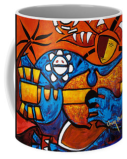 Coffee Mug featuring the painting Cuatro En Grande by Oscar Ortiz