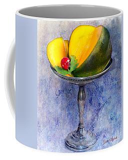 Coffee Mug featuring the photograph Cut Mango On Sterling Silver Dish by Gunter Nezhoda