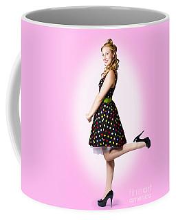 Cute Pin-up Style Fashion Model In Retro Dress Coffee Mug