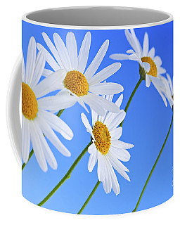 Daisy Flowers On Blue Background Coffee Mug