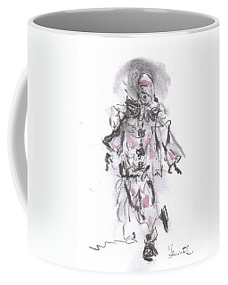 Coffee Mug featuring the mixed media Dancing Clown by Laurie Lundquist