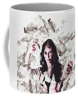 Dead Business Woman In Financial Crisis Debt Coffee Mug