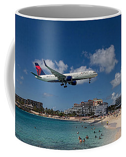 Delta Air Lines Landing At St Maarten Coffee Mug