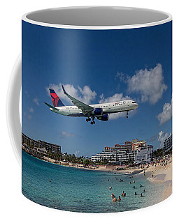 Delta Air Lines Landing At St Maarten Coffee Mug by David Gleeson