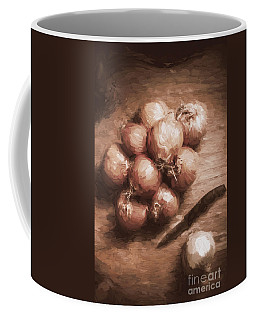 Digital Painting Of Brown Onions On Kitchen Table Coffee Mug