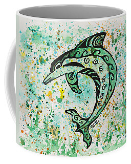 Coffee Mug featuring the painting Dolphin 2 by Darice Machel McGuire