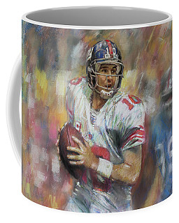 Coffee Mug featuring the drawing Eli Manning Nfl Ny Giants by Viola El