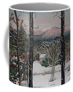 Coffee Mug featuring the painting Ellijay - Pink Knob Mountain - Signed by Jan Dappen
