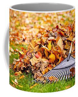 Fall Leaves With Rake Coffee Mug