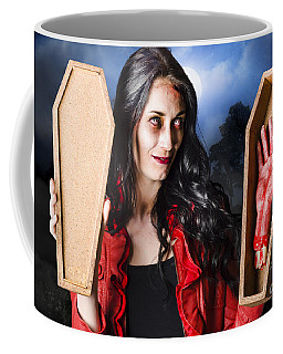 Female Halloween Zombie Holding Undead Hand Coffee Mug