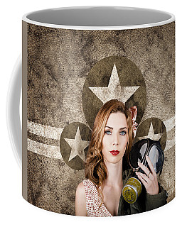 Fifties Army Pin Up Woman. Remembrance Day Coffee Mug