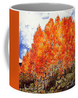 Coffee Mug featuring the painting Flaming Aspens 2 by Barbara Jewell