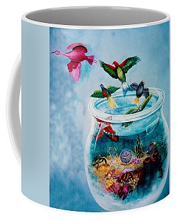 Coffee Mug featuring the painting Flight To Freedom by Lynn Buettner