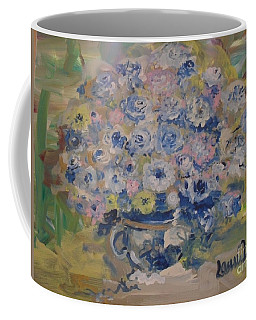 Coffee Mug featuring the painting Flow Bleu by Laurie Lundquist