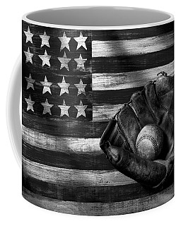 Folk Art American Flag And Baseball Mitt Black And White Coffee Mug