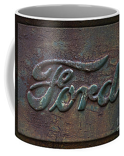 Detail Old Rusty Ford Pickup Truck Emblem Coffee Mug by John Stephens