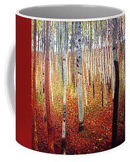 Coffee Mug featuring the painting Forest Of Beech Trees by Gustav Klimt
