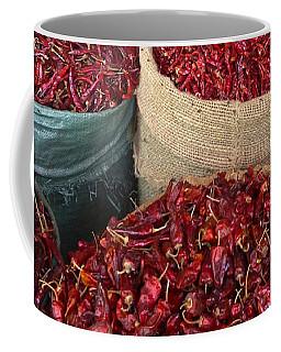 Coffee Mug featuring the photograph Fresh Dried Chilli On Display For Sale Zay Cho Street Market 27th Street Mandalay Burma by Ralph A  Ledergerber-Photography