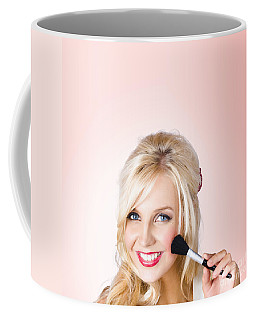 Fresh Faced Makeup Girl With Cosmetic Brush Coffee Mug