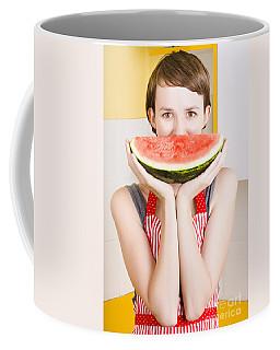 Funny Woman With Juicy Fruit Smile Coffee Mug
