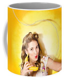 Gossiping Retro Pin Up Girl On Fruit Phone Coffee Mug